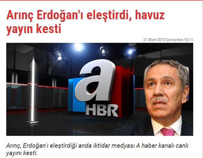 Arınç Erdoğan'ı eleştirdi, havuz yayın kesti Korkularından titriyorlar. Gerçekleri sansürlüyorlar.