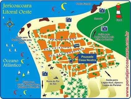 Mapa de localización de la Posada Casa Nostra en Jericoacoara - Brasil