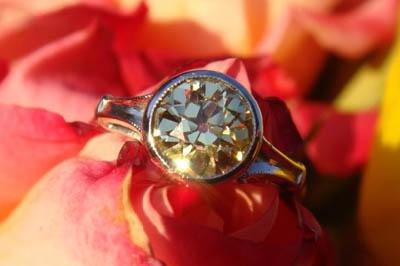 Old European cut yellow diamond ring WEDDING DRESS