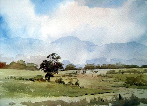 Country Scene Watercolour Alan Owen Painters Online
