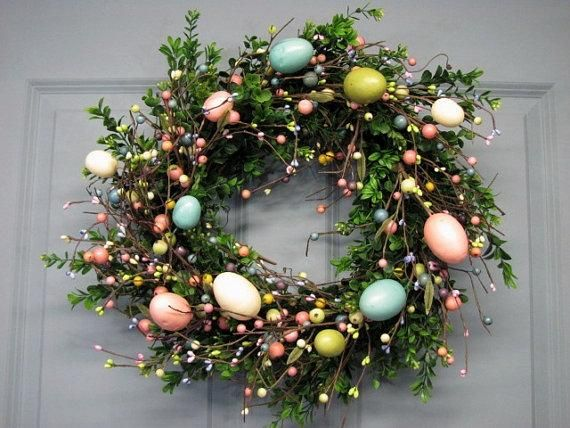 Adorn your door with pastel eggs. #etsy