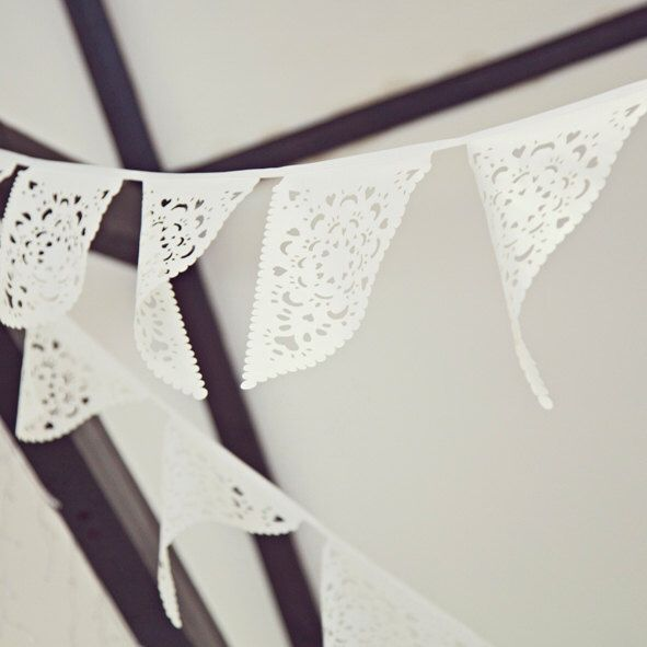 White wedding garland. lace bunting by BaloolahBunting on Etsy https://www.etsy.com/listing/105409022/white-wedding-garland-lace-bunting
