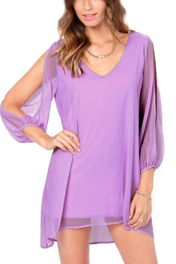 ff73b29721d Light Purple Slit Long Sleeve Chiffon Dress in 2019 | Stitch fix pins | Long  sleeve chiffon dress, Long sleeve mini dress, Dresses