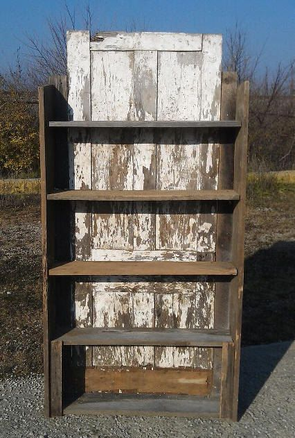 1800s Country Homes: Beautiful 1800's Reclaimed Barn Shelf With Primitive