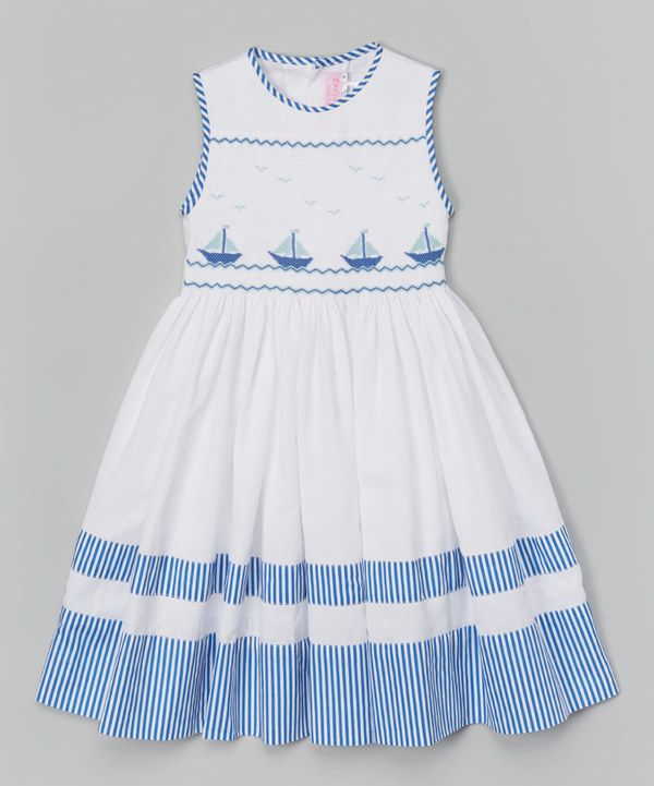 Look at this Emily Lacey White Sailboat Smocked Dress - Infant on #zulily today!