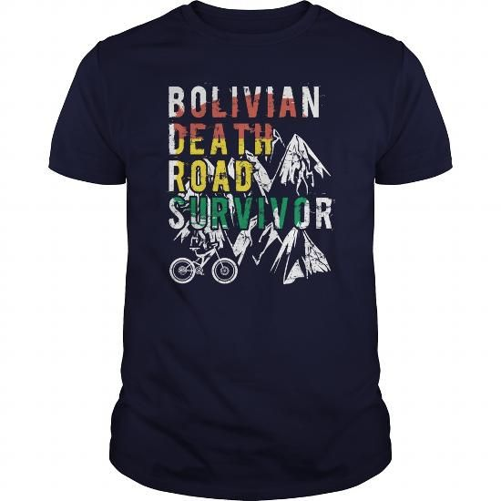 Awesome Tee Bolivian Death Road Survivor Mountain Biking Shirts & Tees