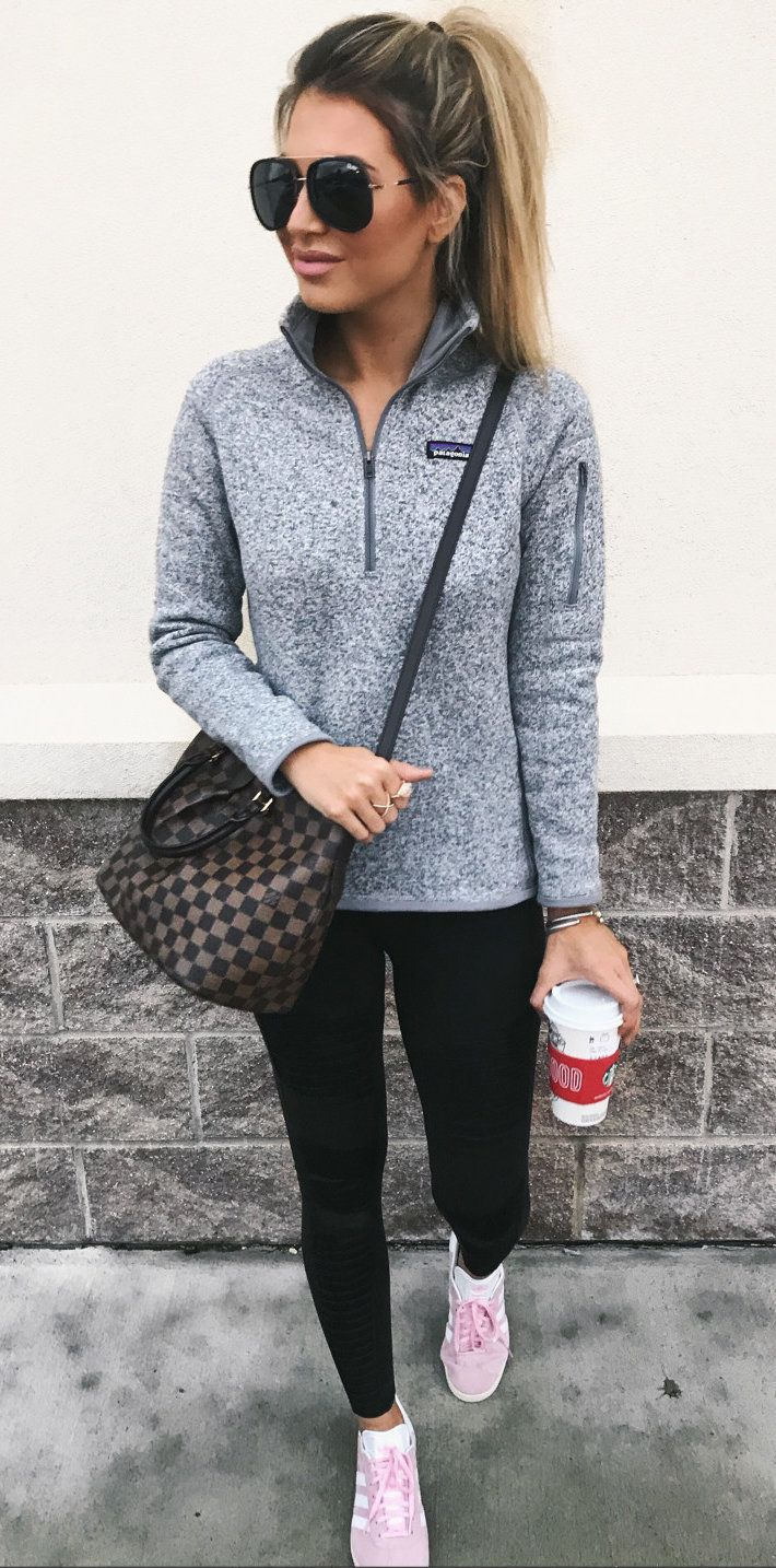 Patagonia gray & black pullover, black leggings, switch to black tennies, taupe & black check print crossbody bag