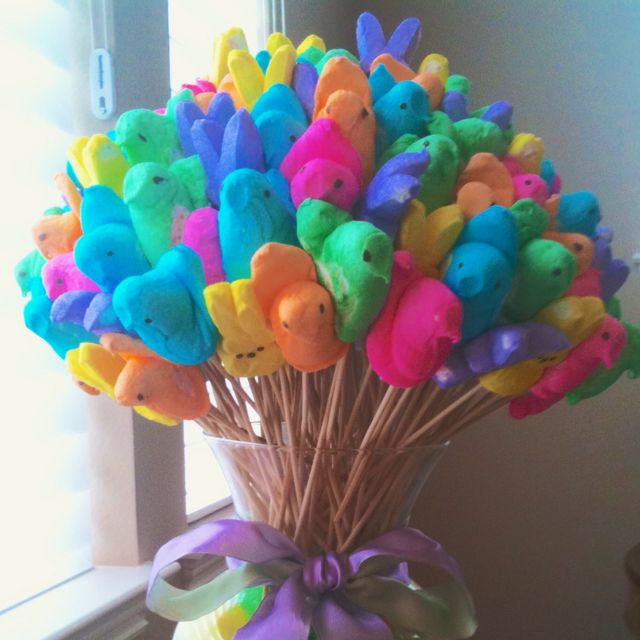 "Peeps Bouquet (waited too long and couldn't find all the colors, but were able to get yellow & pink, plus bunnies and ""eggs"" - super easy craft for kids and turned out adorable!  4/7/12)"