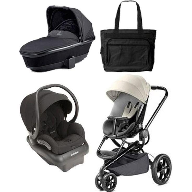 Quinny Moodd Newborn System in Bold Block Grey. Buzz Footmuff - Black. Tukk Bassinet. Quinny Moodd Stroller Bold Block Red. Mico AP Infant Car Seat. Black Fashionable Diaper Bag.