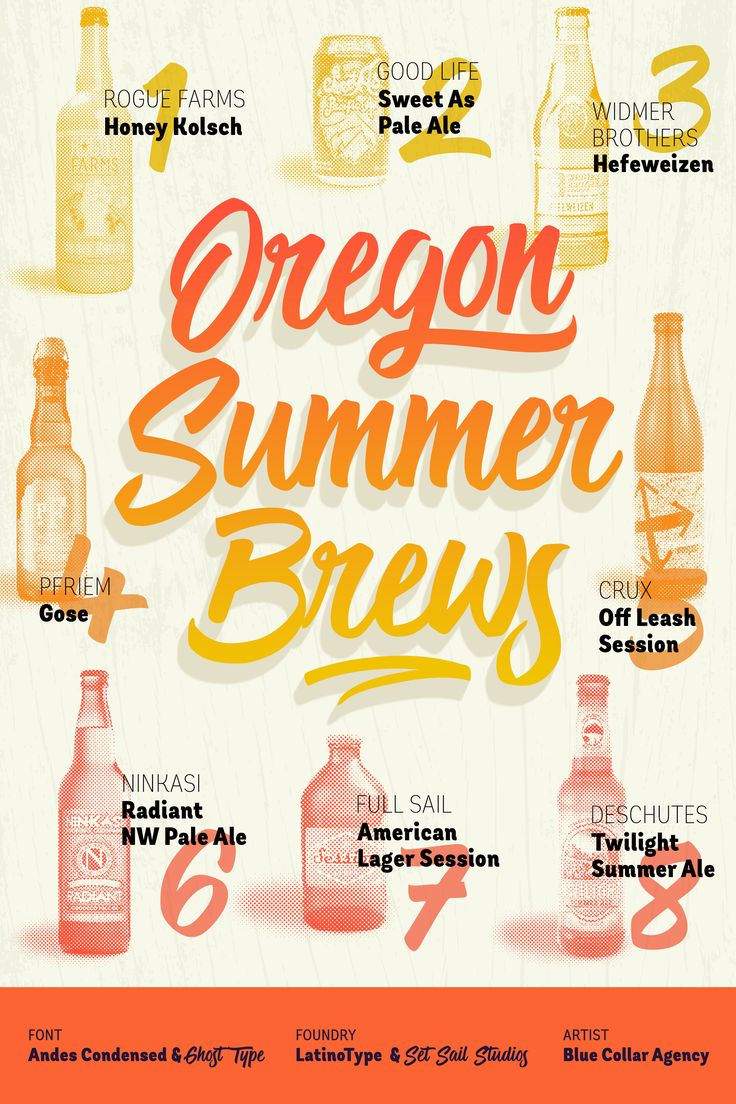"""""""Oregon Summer Brews"""" - Featuring Andes Condensed & Ghost Type; From LatinoType & Set Sail Studios; Art by Blue Collar Agency"""