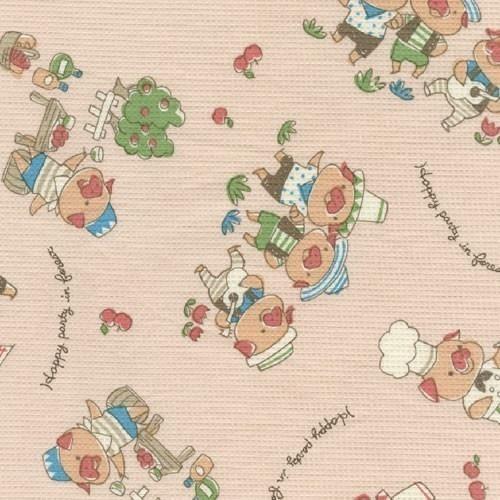 VINTAGE Style Three Little Pigs Waffle Weave Fabric Japanese. $3.99, via Etsy.