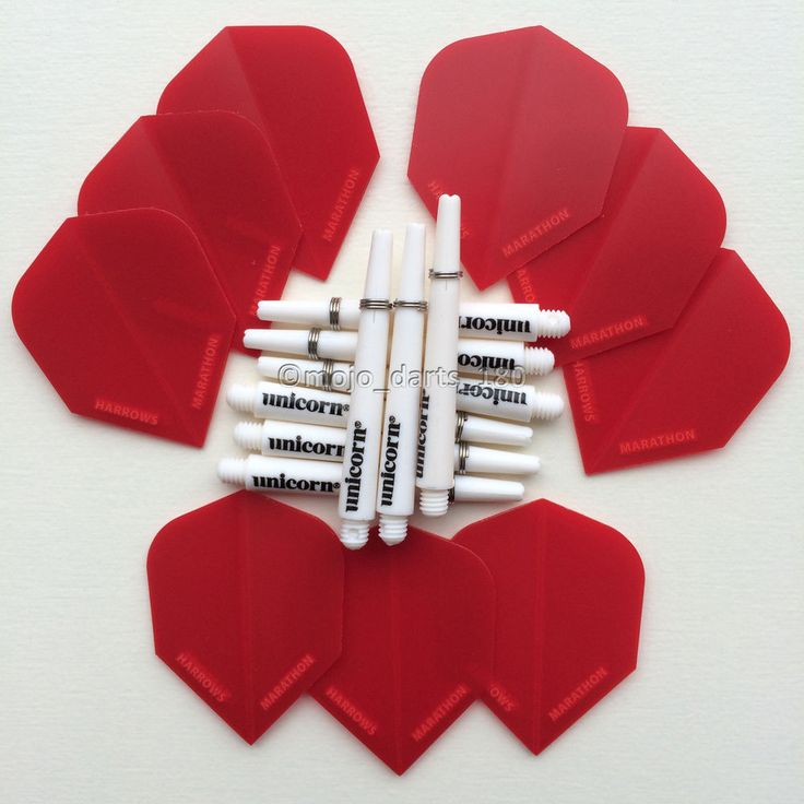 DARTS KIT Dart Flights and Shafts HARROWS and UNICORN Red White MEDIUM Stems