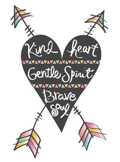 'Kind heart. Gentle spirit. Brave soul' art print by Bohemian Gypsy Jane
