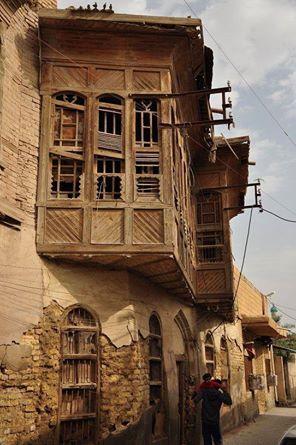 """Balcón """"Shanashil"""", típico de la arquitectura tradicional iraquí."""