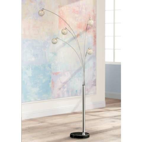 Possini Euro Design Allegra Crystal Ball Arc Floor Lamp - #V2770   Lamps Plus
