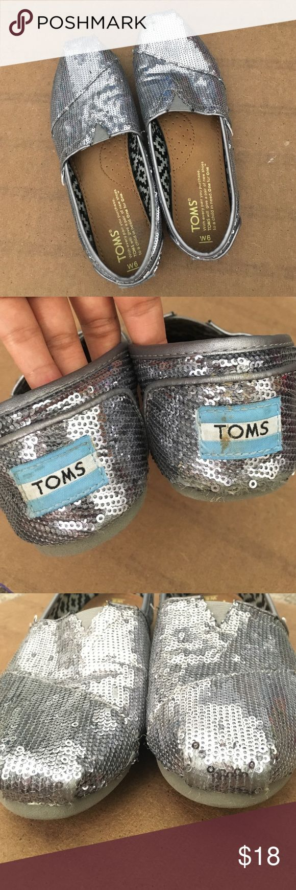 ‼️50%OFF‼️ TOMS pewter sequin shoes Pewter sequin shoes [very metallic/glittery] Size 6 by TOMS. Pic #2-4 shows wear on the back, toes, bottom / sequins missing - these have been worn - good condition TOMS Shoes Espadrilles