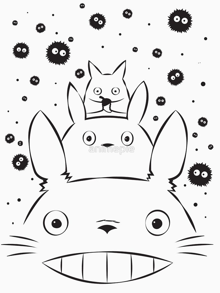 """""""Totoro and Friends Simple"""" Women's Fitted Scoop T-Shirts by animepie 