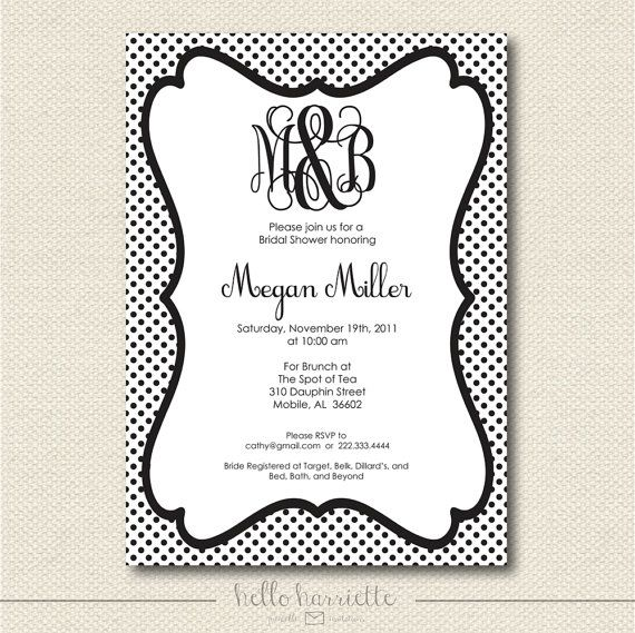 printable monogram bridal shower invite by helloharriette on etsy