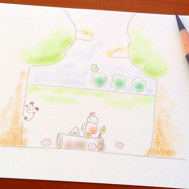 【nonbiri.biyori】さんのInstagramをピンしています。 《子ぐまさんもおいで⭐️ . . #イラスト #イラストレーション #絵 #色鉛筆 #パステル #わんこ #女の子 #デザイン #森 #子ぐま #空 #自然 #illustration #illustrator #illustagram #drowing #dog #design #japan》