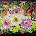 Фото: Будто в саду. (28*38 см) 2015 г.  Масло, лак, картон. из альбома «НЕМНОГО ИЗЯЩНОГО.»