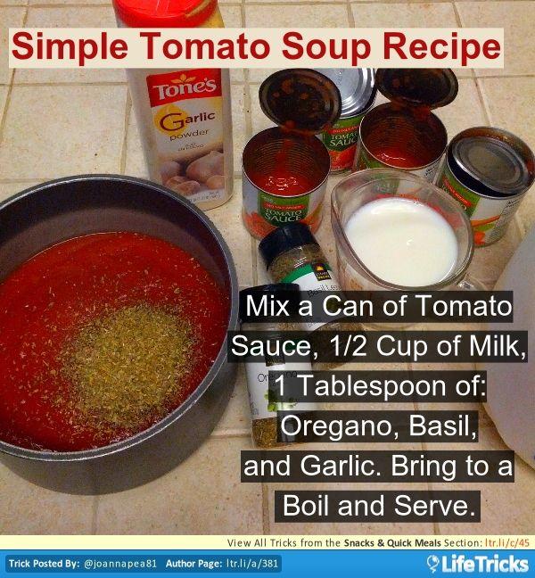 Snacks  Quick Meals - Simple Tomato Soup Recipe