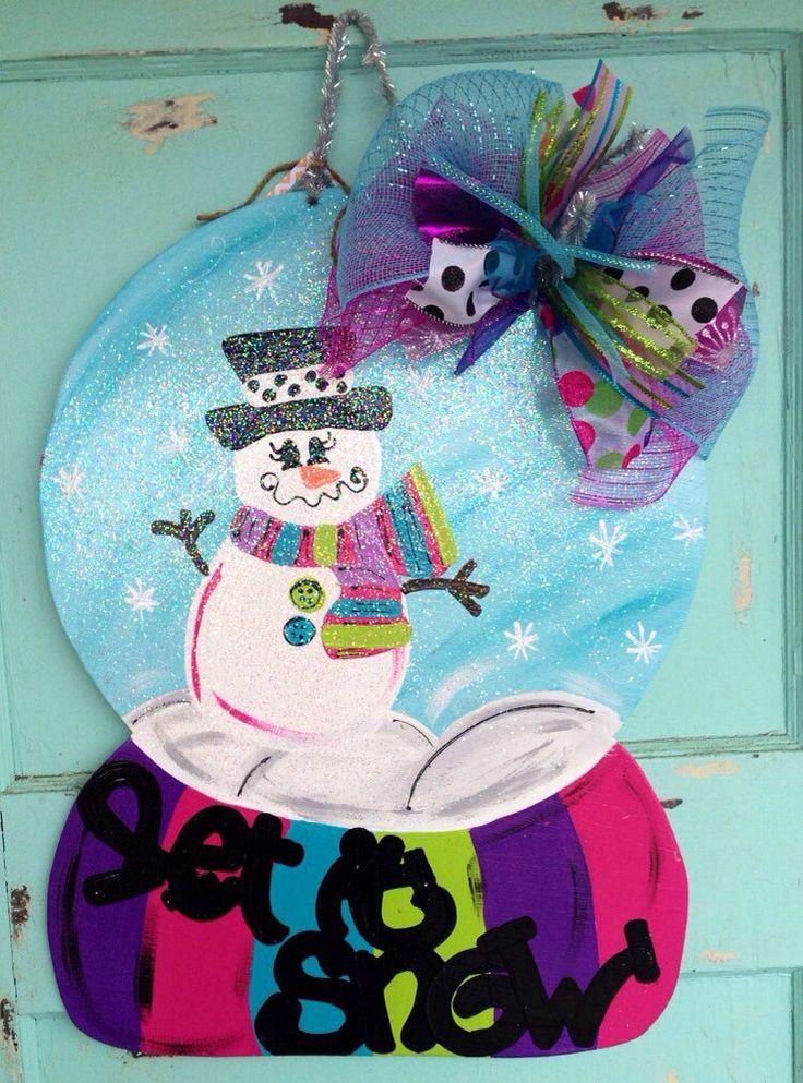 Winter Door Hanging Winter Snow Globe Door Hanger By