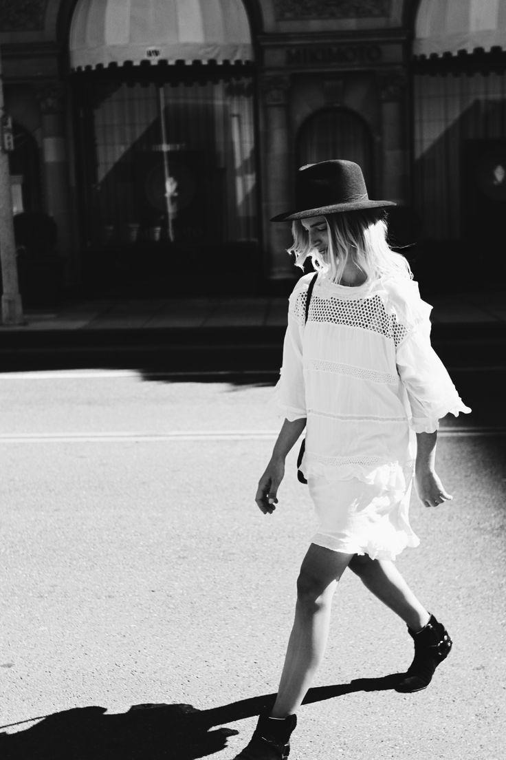 WORTH & WORTH  hat ISABEL MARANT  white oversized dress(similar here) ISABEL MARANT   suede leather boots(similar here) MANSUR GAVRIEL  leather bag (similarhere) street style photos byF. Flatau _____ _____ Somewhere near Rodeo Drive.  x