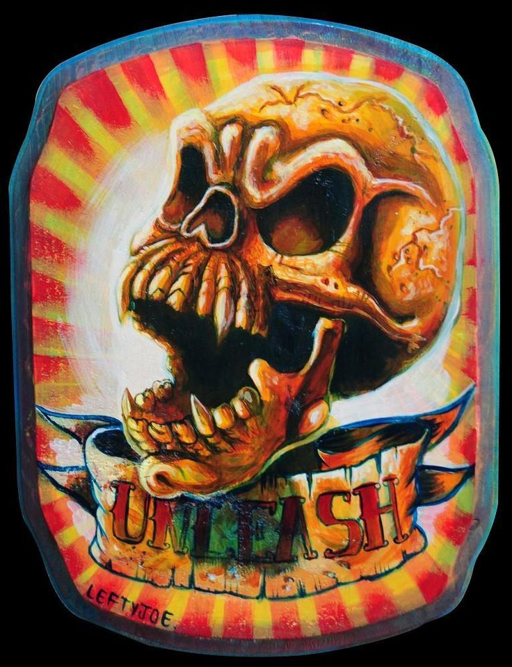 Unleash by Lefty Joe Gold Skull with Tattoo Banner Canvas Art Print
