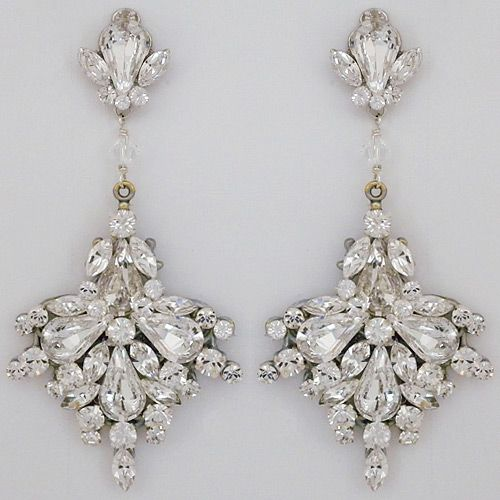 Large Fan Drop Bridal Chandelier Earrings ~ Discover Erin Cole Bridal Chandelier Earrings & crystal wedding earrings at Perfect Details.  Stunning crystal chandelier earrings for weddings & black tie affairs.