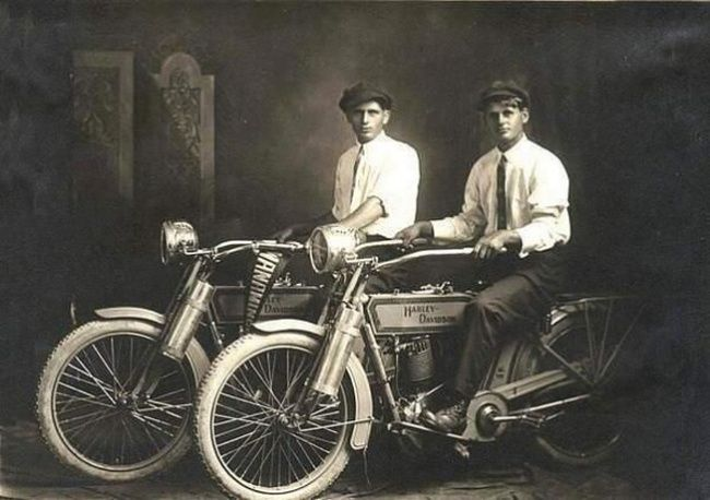 William Harley and Arthur Davidson, founders of the Harley Davidson Motorcycle Company.