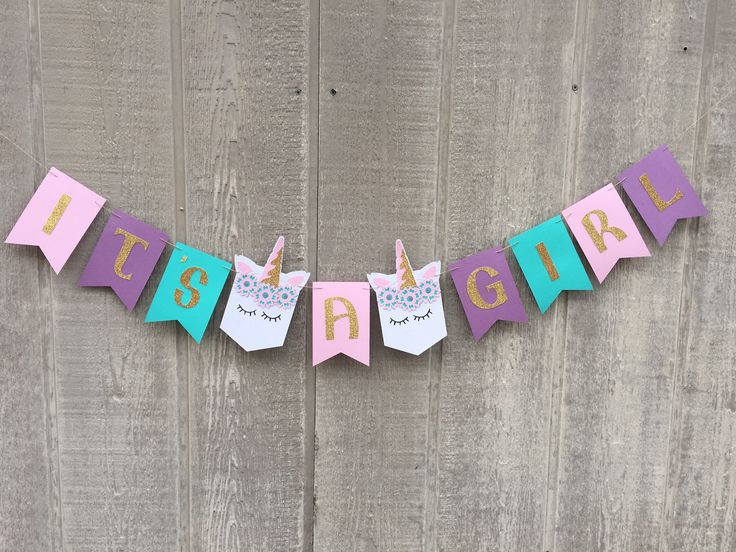 Unicorn Baby Shower, It's A Girl Banner, Girl Baby Shower, Unicorn Shower, Unicorn Decorations, Unicorn Theme Baby Shower. by TinCakes on Etsy https://www.etsy.com/listing/557741040/unicorn-baby-shower-its-a-girl-banner