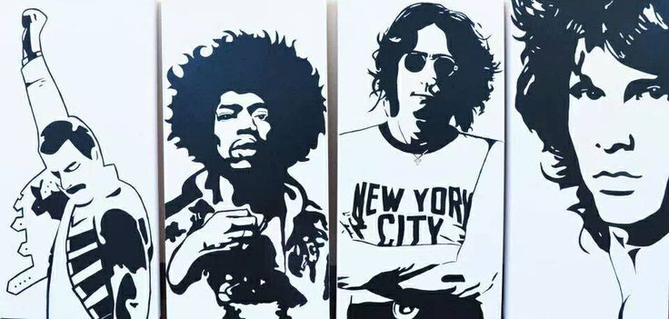 Freedie Mercury Jimi Hendrix John Lennon        & Jim Morrison