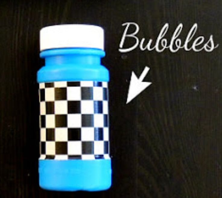 Dollar tree bubbles & wrap it with checker print duck tape for a cars theme party !
