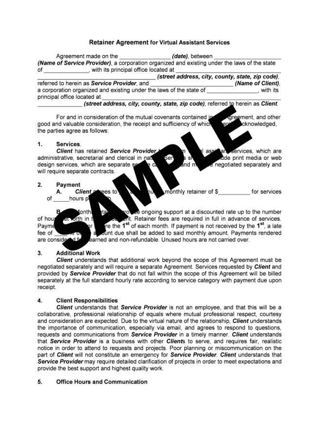 Get Our Example Of Personal Assistant Contract Template Contract Template Virtual Assistant Retainer Agreement