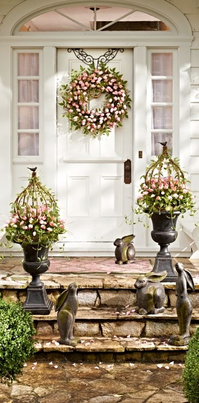 Put a fresh new face on your home with the look of professionally designed foliage that never needs watering, with our Tulip Urn Filler and Wreath.