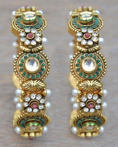 Pearls Kundan CZ Bollywood Jewelry Bangles Bracelets Ethnic Traditional