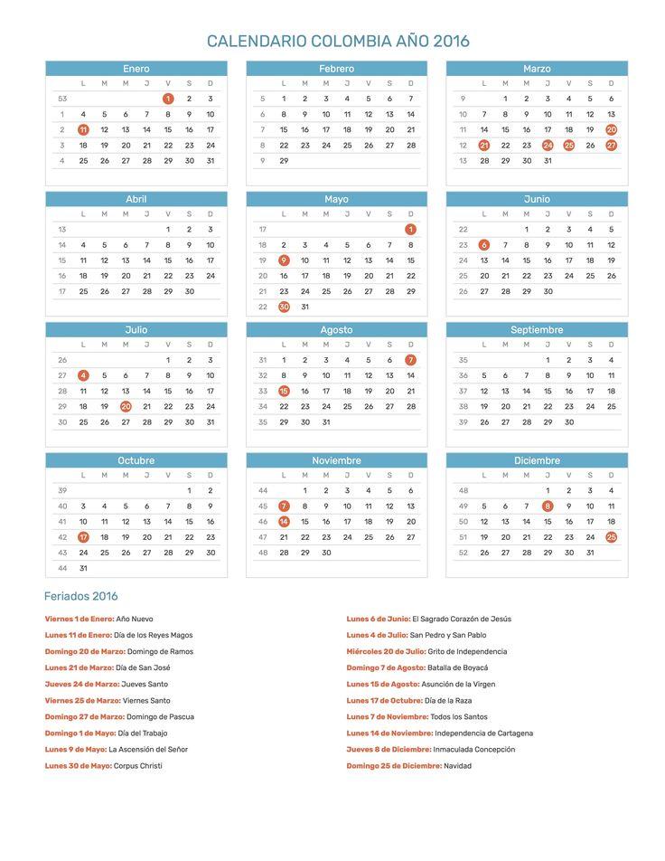 Calendario de Colombia con feriados nacionales año 2016. Incluye versión para imprimir en formato JPG y PDF totalmente gratis.