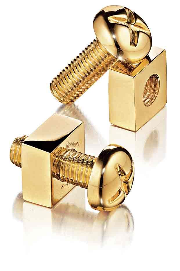 Wish they made these in earrings. Verdura 18k yellow-gold Nuts & Bolts cuff links.