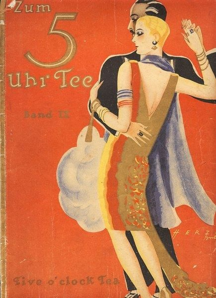 Art Deco Book Cover ~ Vintage german book cover 'zum uhr tee ca s