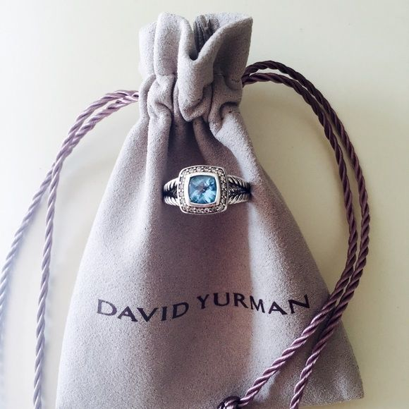 David Yurman petite Albion Blue Topaz ring Size 7.5 David Yurman Jewelry Rings
