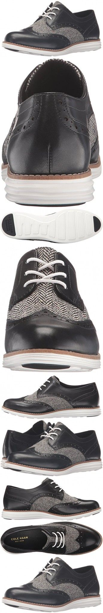 Cole Haan Women's Original Grand Wingtip Oxford, Black Natural Tweed/Black Leather/Optic White, 9 B US
