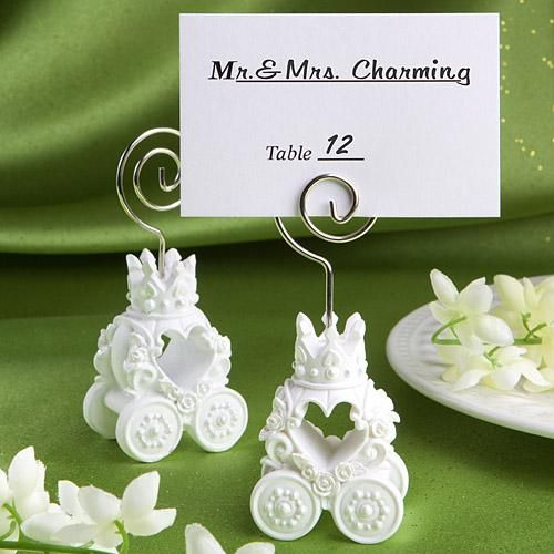 fairytale coach wedding place card holder features a base made of white poly resin it