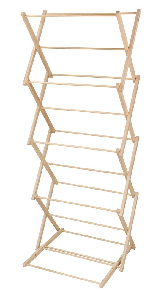 Beautiful beech wood expanding clothes horse. Part of the Tala Utility Collection. With waxed bars for prolonged use and to protect your garments.