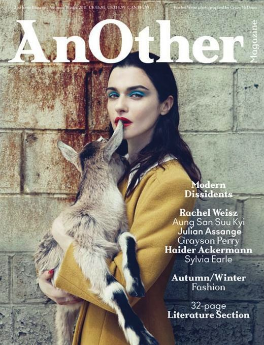 AnOther F/W 2011  Photographer: Craig McDean  Stylist: Olivier Rizzo  Model:Rachel Weisz  Why we love it: Who knew that combining a beautiful Hollywood actress, a bright, borderline tacky beauty look and a baby goat would be a recipe for success?