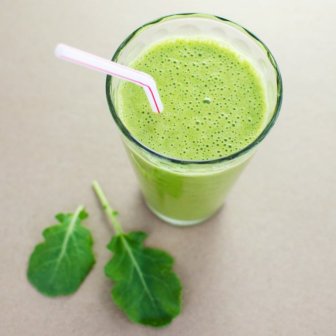 Peanut Butter & Kale Smoothie --  ingredients:  ½ cup plant milk (I prefer rice milk),  1 small banana,  1 large handful of baby kale,  1 tbs all natural peanut butter,  ½ cup ice cubes (optional)