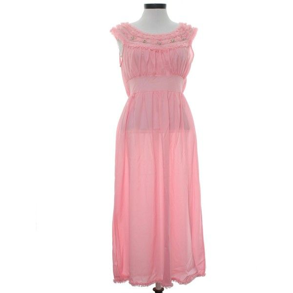 Penneys Adonna Sixties Vintage Womens Lingerie Nightgown: 60s -Penneys... ($22) ❤ liked on Polyvore featuring intimates, sleepwear, nightgowns, sheer nightie, nylon nightgowns, tricot nightgown, lingerie sleepwear and pink nightgown