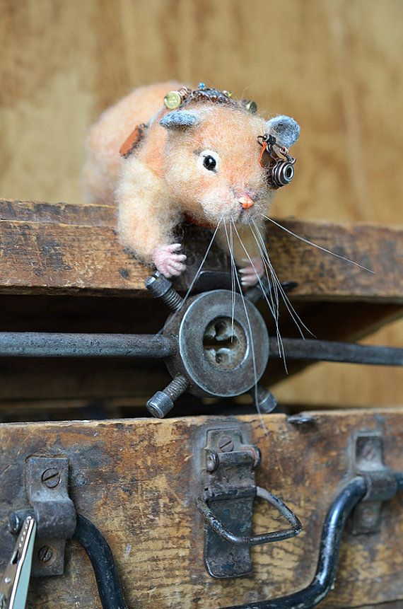 Needle felted Hamster. Steampunk. Collectible toy. by Fenekdolls