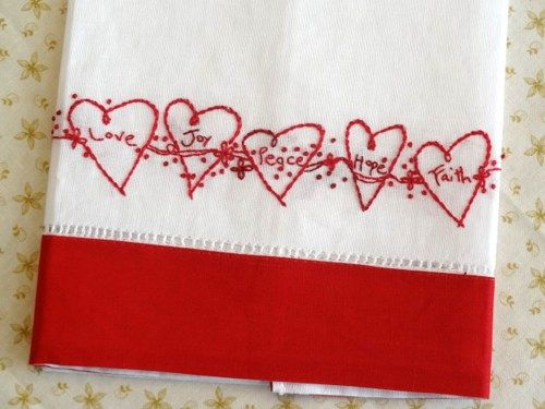 Hand Quilting Heart Patterns : Redwork Hearts Hand Embroidery Tea Towel Kit Hand Dyed Floss countrygarden - Patterns on ...