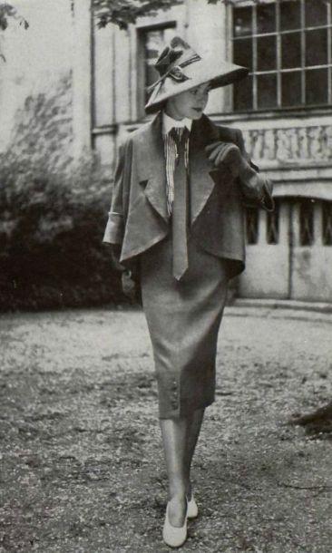 1950 Jacques Fath womens vintage fashion style unique mens tie jacket skirt suit dress 50s designer looks