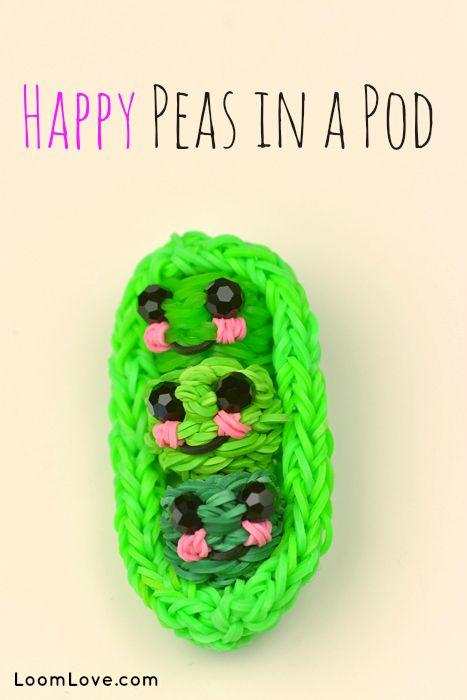 How to Make Rainbow Loom Happy Peas in a Pod #rainbowloom